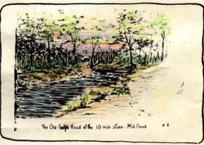 The Old Gulph Road at the 10 mile stone - Mill Creek