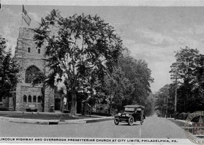 Lincoln Highway and Overbrook Presbyterian Church at City Limits