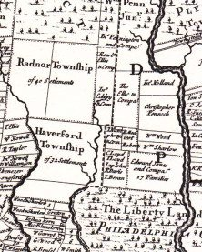 1687 A Mapp of Ye Improved Part of Pennsylvania in America (Up Close of Lower Merion)