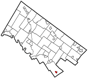 outline map of Montgomery County, PA, showing its townships and boroughs. Narberth borough is located in the extreme southeast of the county.