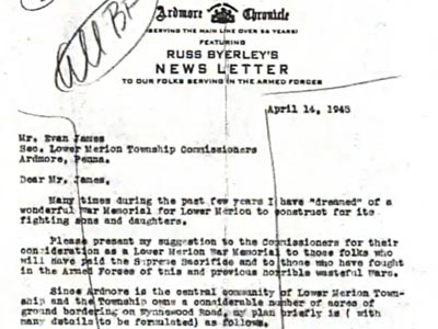 letter on letterhead from the 'Ardmore Chroncle featuring Russ Byerley's Newsletter'