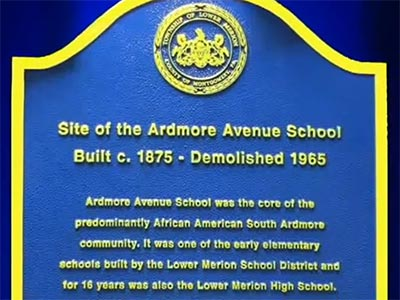 historic marker reads 'Site of the Ardmore Avenue School, built c. 1875 - demolished 1965'