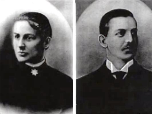 portraits of a woman and man in dark formal 19th-century clothing