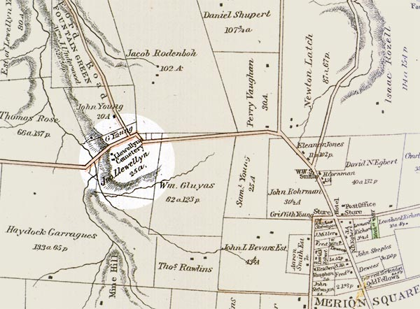1851 map highlights site of Llewellyn farm and cemetery