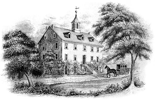 Woodcut of The Lower Merion Academy in 1851