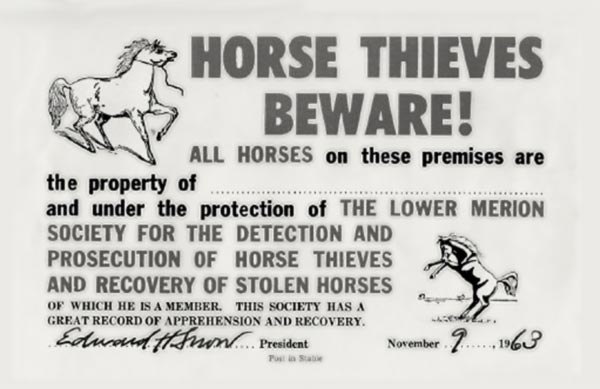 card proclaims: HORSE THIEVES BEWARE!